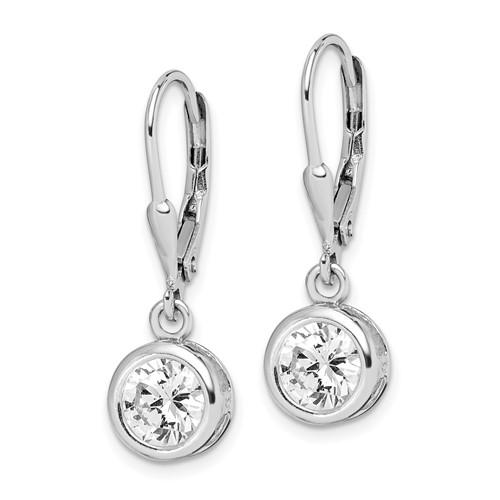 Sterling Silver CZ Leverback Earrings