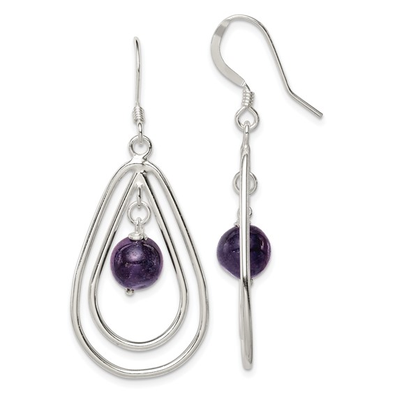 Sterling Silver Dangle Amethyst Earrings