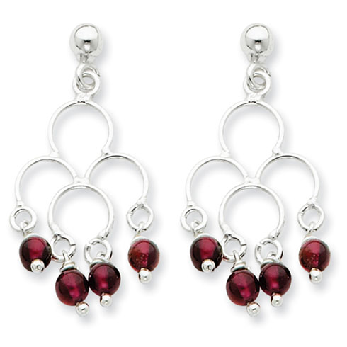 Drop Garnet Earrings - Sterling Silver
