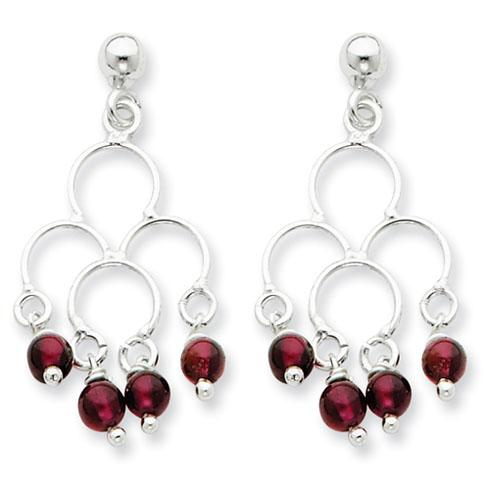 Drop Garnet Earrings - Sterling Silver
