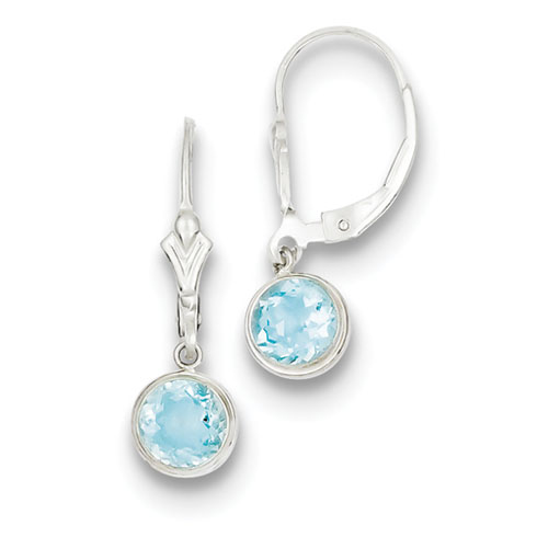 Sterling Silver 6x4mm Blue Topaz Leverback Earrings