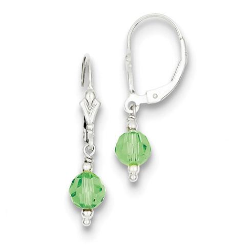 Sterling Silver Green Crystal Leverback Earrings