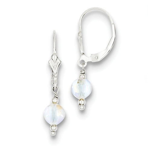 Sterling Silver Aurora Swarovski Elements Leverback Earrings