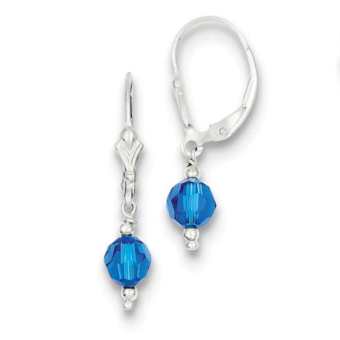 Sterling Silver Dark Blue Crystal Leverback Earrings