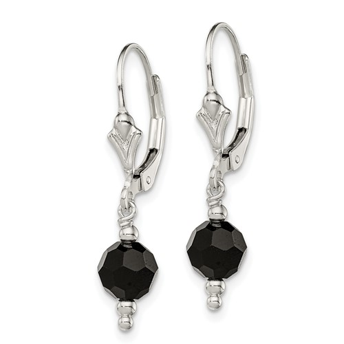 Sterling Silver Black Crystal Leverback Earrings