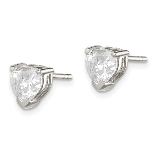 Sterling Silver 6mm Heart Cubic Zirconia Stud Earrings