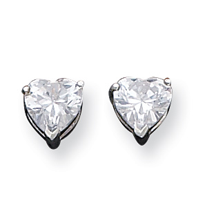Sterling Silver 7mm Heart Cubic Zirconia Stud Earrings