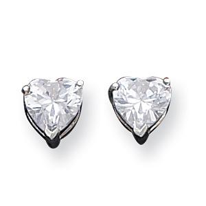 Sterling Silver 7mm Heart Cubic Zirconia Stud Earrings