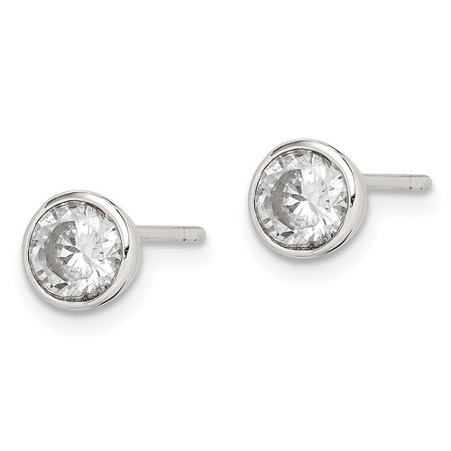 Sterling Silver 5mm CZ Round Bezel Stud Earrings