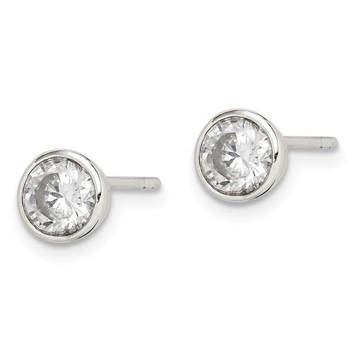 Sterling Silver 5mm CZ Round Bezel Stud Earrings