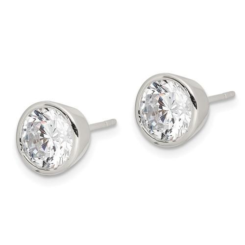 Sterling Silver 7mm CZ Round Bezel Stud Earrings