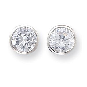 Sterling Silver 9mm CZ Round Bezel Stud Earrings