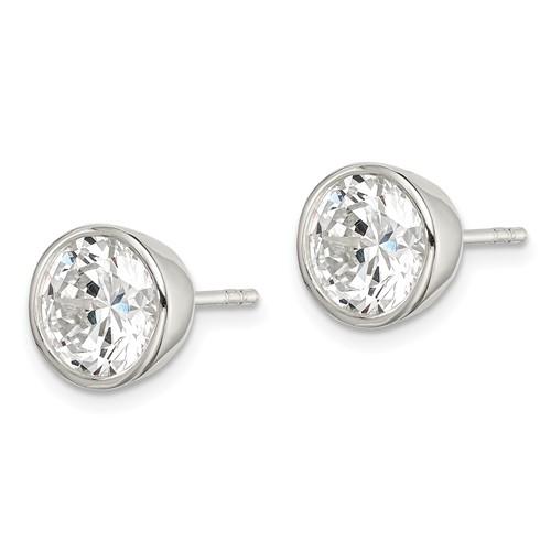 Sterling Silver 8mm CZ Round Bezel Stud Earrings