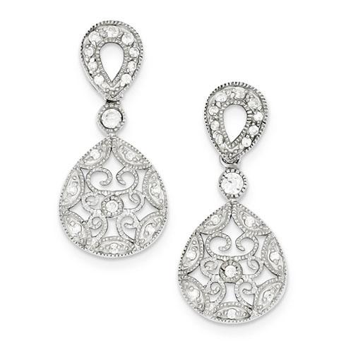 Sterling Silver CZ Antique Style Earrings