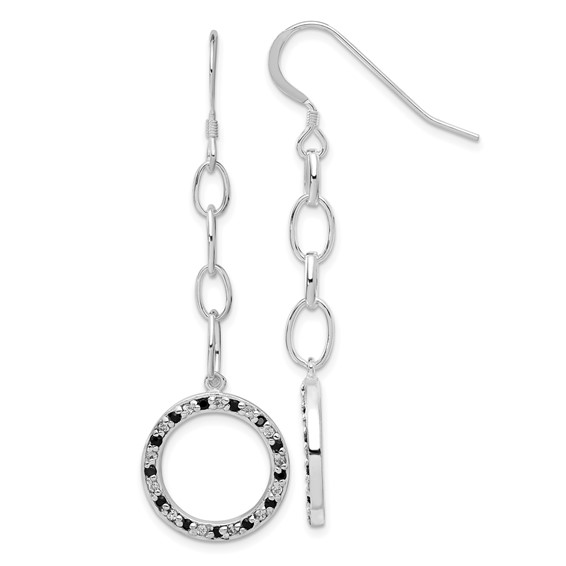 Sterling Silver Black and White CZ Circle Dangle Earrings