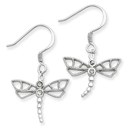 Sterling Silver Large CZ Shepherd Hook Dragonfly Earrings