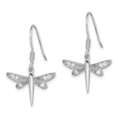 Sterling Silver CZ Dragonfly Dangle Earrings