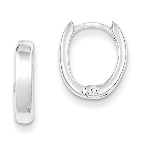 9/16in Oval Hinged Hoop Earrings - Sterling Silver