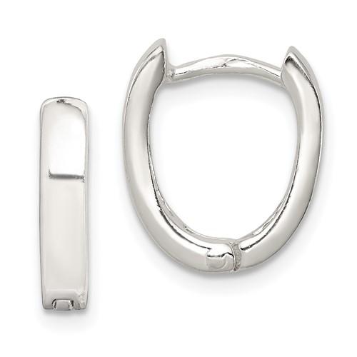 9/16in Oval Hinged Hoop Earrings - Sterling Silver