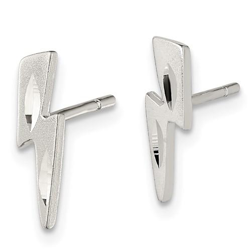 Sterling Silver 1/2in Lightning Bolt Post Earrings