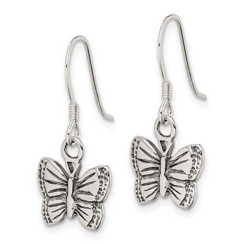 Sterling Silver Antiqued Butterfly Earrings