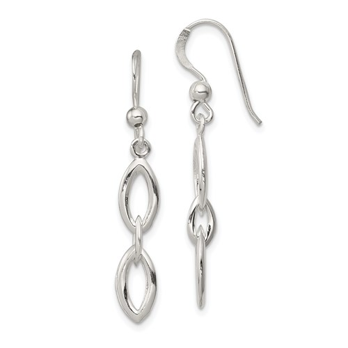Sterling Silver Open Pointed Accents Dangle Earrings