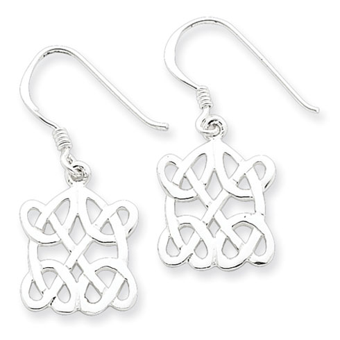 Sterling Silver Dangle Intricate Knot Earrings