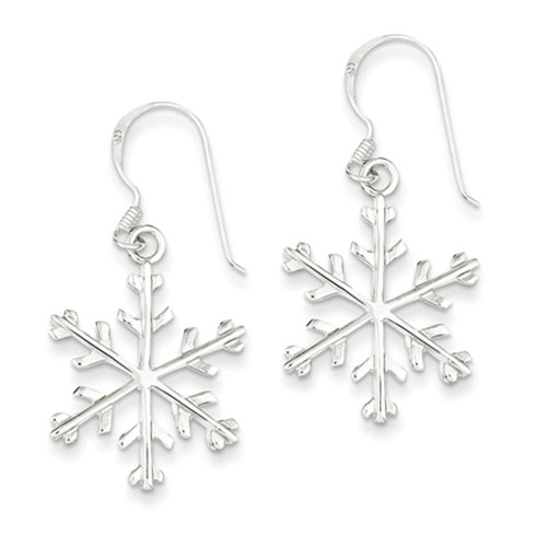 Sterling Silver 1 5/8in Snowflake Dangle Earrings