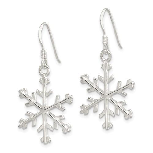 Sterling Silver 1 5/8in Snowflake Dangle Earrings