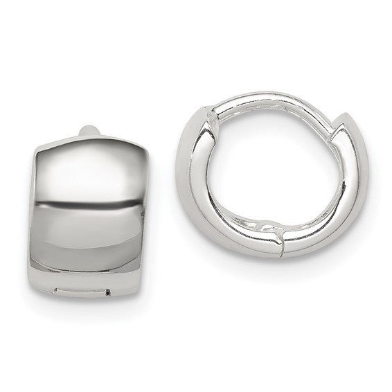 Sterling Silver 3/8in Broad Huggie Earrings