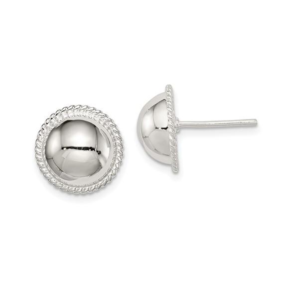 Sterling Silver 13mm Beaded Button Earrings
