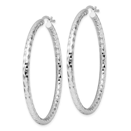 Sterling Silver 3.00mm Diamond-cut Hoop Earrings