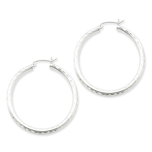 Sterling Silver 1 1/2in Diamond-cut Hoop Earrings 3mm
