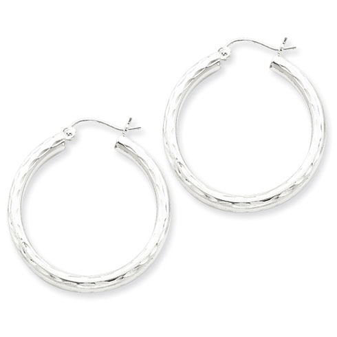 Sterling Silver 1 1/8in Diamond-cut Hoop Earrings 3mm