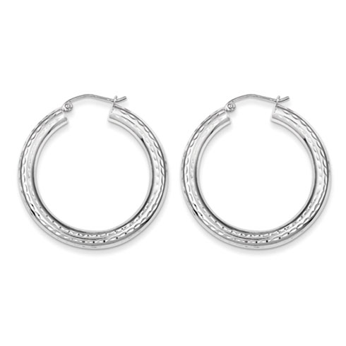 Sterling Silver 1 3/8in Diamond-cut Hoop Earrings 4mm