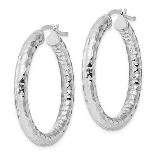 Sterling Silver 4.00mm Diamond-cut Hoop Earrings