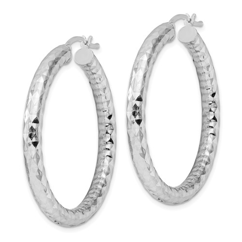 Sterling Silver 4.00mm Diamond-cut Hoop Earrings