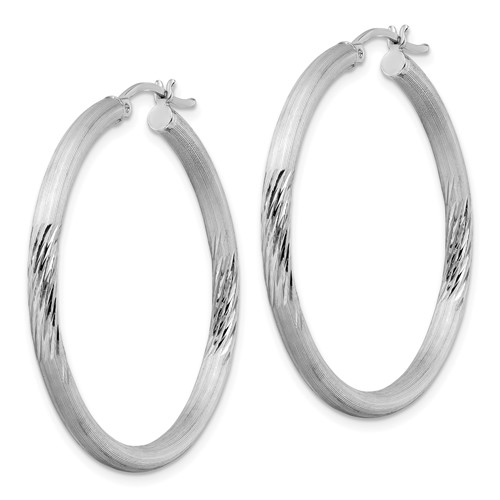 Sterling Silver Satin Diamond-cut Hoop Earrings 2 1/2in
