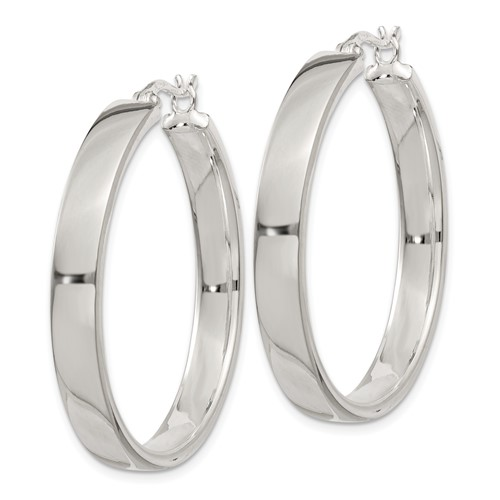 Sterling Silver Round Hoop Earrings 1 1/4in