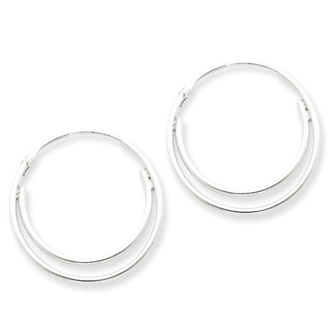 Sterling Silver 1in Double Hoop Earrings
