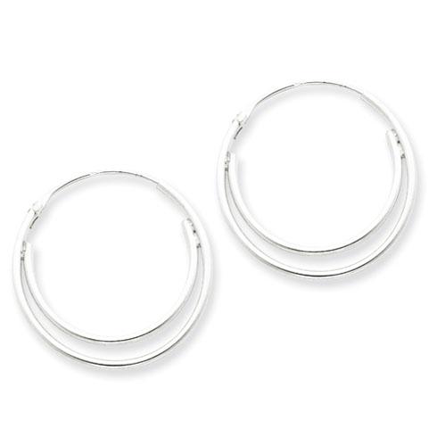 Sterling Silver 1in Double Hoop Earrings