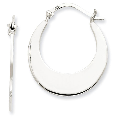Sterling Silver 1 1/8in Flat Hoop Earrings