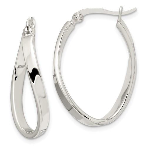 Sterling Silver 1 1/4in Twisted Hoop Earrings