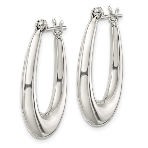 Sterling Silver 1 1/8in Oval Hoop Earrings
