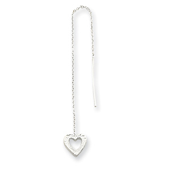 Sterling Silver Hammered Heart Threader Earrings