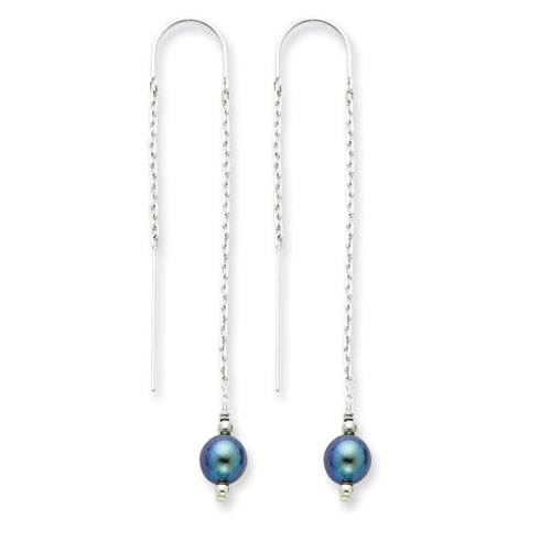 Sterling Silver Grey Cultured Pearl Threader Earrings