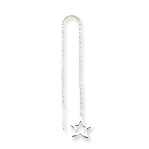 Cut Out Star Threader Earrings - Sterling Silver