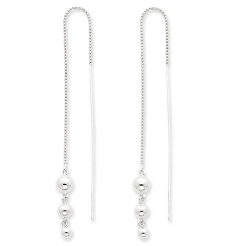 Sterling Silver Ball Threader Earrings