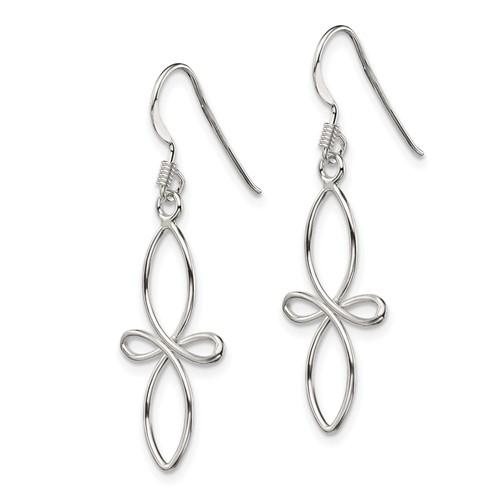 Sterling Silver 1in Fancy Cross Dangle Earrings