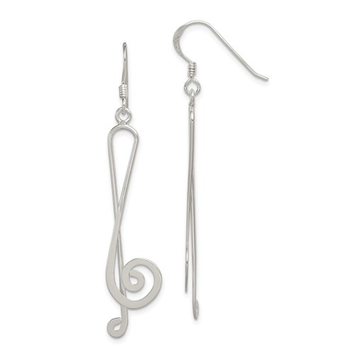Sterling Silver Fancy Treble Clef Earrings